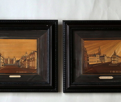 Pair of tableaus in straw marquetry