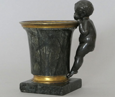 Inkwell in bronze & marble