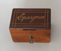 Savings box in marquetry